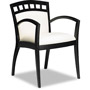 Mayline Mercado Series Arch-Back Wood Guest Chair, Espresso Finish, Cream Leather