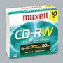 Maxell CD RW Rewritable Discs, Branded Surface, 700MB/80MIN, 4x, Silver, 25/Pack