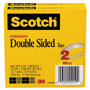 "Scotch 665 Double-Sided Tape, 1/2"" x 1296"", 3"" Core, Transparent, 2/Pack"