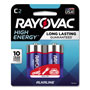 Rayovac High Energy Premium Alkaline Battery, C, 2/Pack