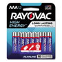 Rayovac High Energy Premium Alkaline Battery, AAA, 12/Pack