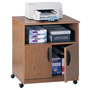 Safco Machine Stand with Open Compartment & Double Door Cabinet, Medium Oak