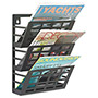 Safco Grid Magazine Rack, 3 Compartments, 9-1/2w x 5-1/2d x 13-1/2h, Black
