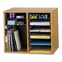 Safco Wood Adjustable Organizer, 19 5/8w x 11 7/8d x 16 1/8h, Medium Oak