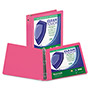 "Samsill Clean Touch Round Ring View Binder with Antimicrobial Protection, 2"", Berry"