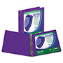 "Samsill Clean Touch Round Ring View Binder with Antimicrobial Protection, 3"", Purple"