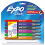 Expo® Click Dry Erase Markers, Fine Tip, Assorted, 6/Set