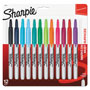 Sharpie® Retractable Permanent Markers, Fine Point, Asstd., 12/Set