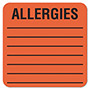 "Tabbies Medical Labels, Allergies, 2 1/2"" x 2 1/2"", Fluorescent Red"