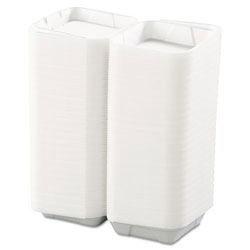 Boardwalk Snap-it Foam Hinged Lid Containers, 1-Comp, 8 x 8 x 3, White, 200/Carton