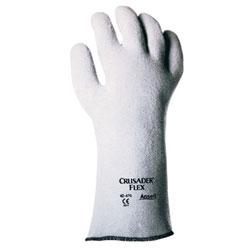 Ansell Crusader Flex Hot Mill Gloves, Nitrile-Coated Non-Woven Felt, Light Gray, Sz 9
