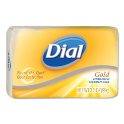Dial Professional Individually Wrapped Antibacterial Soap, Pleasant, Gold, 4oz Bar, 72/Carton