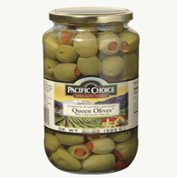 Pacific Choice Specialty 1 Gallon 140-150 Count Pimento Stuffed Queen Olives