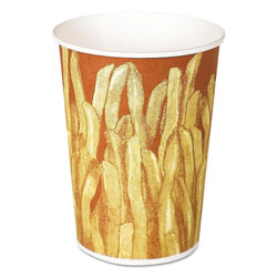 Solo Paper French Fry Cups, 12 oz,Yellow/Brown Fry Design, 1000/Crtn