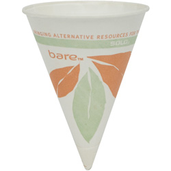 Solo Wax Paper Rolled Rim Water Cone Cup, 4 OZ, Bloom
