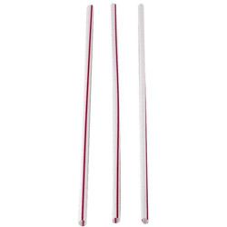 """WNA Comet Slim Wht with Red Strip Straws, 8"""""""