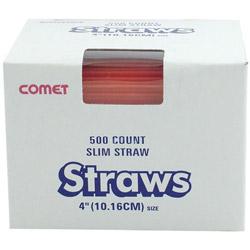 """WNA Comet Slim Red Straws, 4"""""""