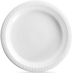 "Chinet Heavy Duty Disposable 10.25"" Plastic Plates, White, Case of 500"