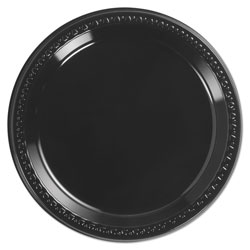 Huhtamaki Heavyweight Plastic Plates, 9 in Diamter, Black, 125/Pack, 4 Packs/CT