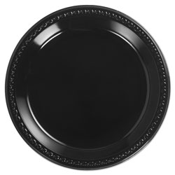 Huhtamaki Heavyweight Plastic Plates, 10 1/4 Inches, Black, Round