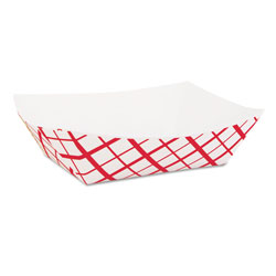 Southern Champion 0413 Red Checked Paper Food Tray, 1 lb Capacity