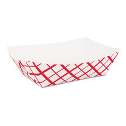 SCT Paper Food Baskets, 2lb, Red/White, 1000/Carton