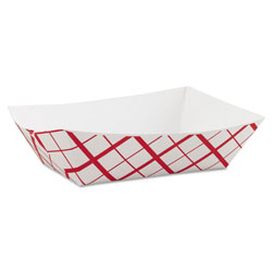Southern Champion 0425 Red Checkered 3 Pound Paper Food Tray