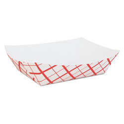 Southern Champion 0429 Red Checked Paper Food Tray