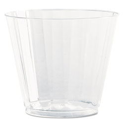 WNA Comet Classic Crystal Plastic Tumblers, 9 oz., Clear, Fluted, Squat, 12/Pack