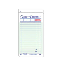 "National Check 3 1/2"" x 6 1/2"" Green Guest Check"