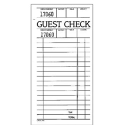 "National Check 3 1/2"" x 7"" Green Guest Check"