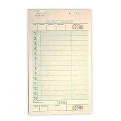 "National Check 4 1/4"" x 7"" Green Guest Check"