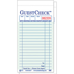 """National Check 3 5/16"""" x 6"""" Green Guest Check"""