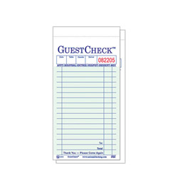 "National Check 3 4/10"" x 6 3/4"" Green Guest Check"