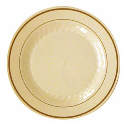 "WNA Comet Masterpiece Disposable 7.55"" Plastic Plates, Tan, Case of 150"
