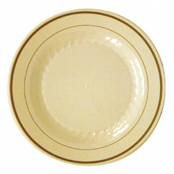 "WNA Comet Masterpiece Disposable 9"" Plastic Plates, Tan, Case of 120"