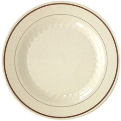 "WNA Comet Masterpiece Disposable 10.25"" Plastic Plates, Ivory/Gold , Case of 120"