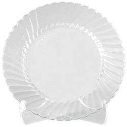 "WNA Comet Disposable 7.5"" Plastic Plates, Clear, Case of 180"