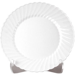 "WNA Comet Disposable 7.5"" Plastic Plates, White, Case of 180"