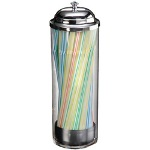 American Metalcraft Clear Plastic Straw Holder w/Metal Dispenser