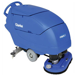 Clarke FOCUS® II Disc 26 Mid-size Autoscrubber, 242 Ah Wet Batteries, Onboard Charger, Pad Holder and Chemical Mixing System