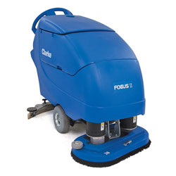 Clarke FOCUS® II Disc 28 Mid-size Autoscrubber, 312 Ah Maint-free (AGM) Batteries, Onboard Charger, Pad Holder and Chemical Mixing System