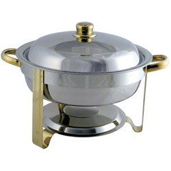 Misc Imports 4 Quart Stainless Steel and Gold Round Chafer