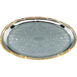 "Carlisle Foodservice Products 608913 18"" x 13"" Oval Chrome Tray with Gold Border"