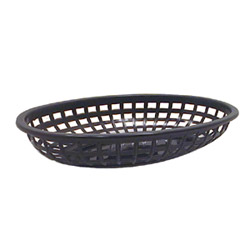 "Tablecraft Plastic Oval Basket, 9""x6"", Black"