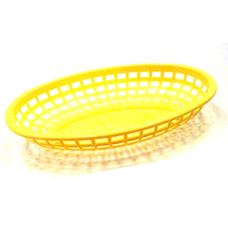 Tablecraft Medium Yellow Plastic Oval Basket