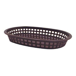 "Tablecraft Plastic Oval Basket, 10 1/2""x7"", Black"