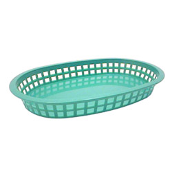 Tablecraft Large Green Plastic Oval Basket