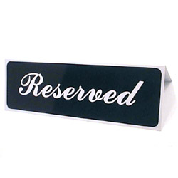 "Traex ""Reserved"" Tabletop Tent Sign"