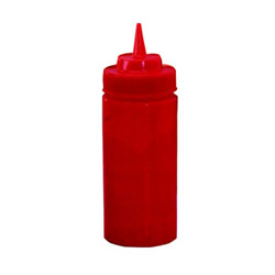 Tablecraft 16 Ounce Red Wide Mouth Squeeze Bottle